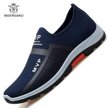 Yaz örgü erkek ayakkabısı hafif spor ayakkabı erkekler moda rahat yürüyüş ayakkabısı nefes kayma Mens loafer'lar Zapatillas Hombre