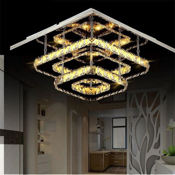 Modern Led Ceiling Light Surface Mounted Fixtures Mirror Chrome Lustre for Living Room Bathroomlight Indoor