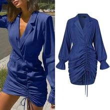 Celmia Elegant Suit Collar Bodycon Mini Dress Women Stylish Drawstring Pleated Dress 2021 Summer Sexy OL Long Sleeve Vestidos