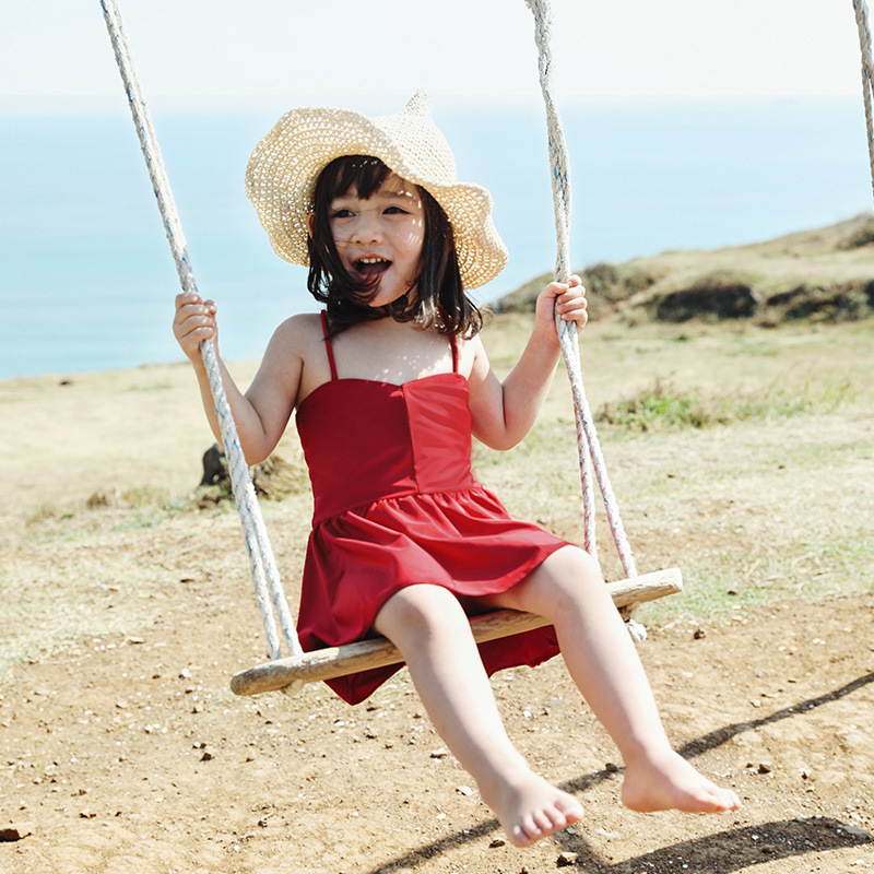 IEMOX/iemox Big Boy Baby Siamese Swimsuit Lace-up Backless 2-11-Year-Old KID'S Swimwear Girls