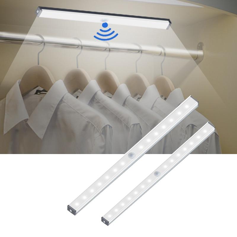 Armario de carga USB 14 20 LED, tira magnética de luz para armario, lámpara de noche con Sensor de movimiento para cocina, dormitorio, iluminación para el hogar