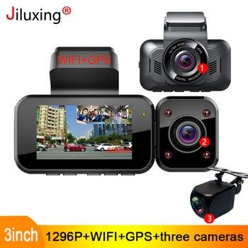 Jiluxing S08S 1296P three cameras Car DVR WIFI GPS car Dash Cam two Video Recorder Registrator Night Vision