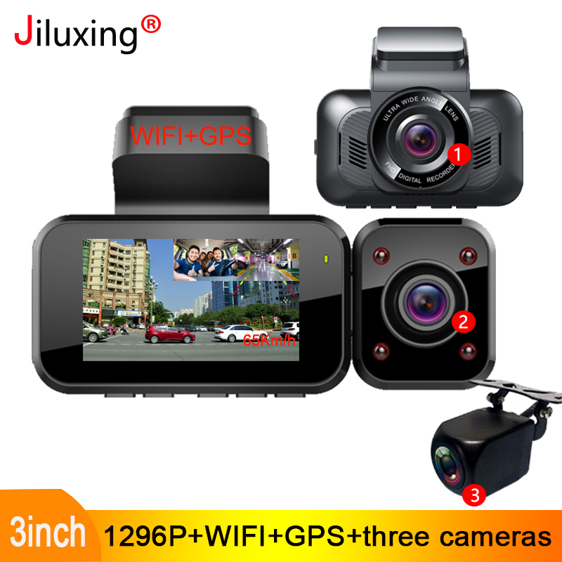 "Jiluxing S08S 1296P tres cámaras coche DVR WIFI GPS coche cámaras cámara de salpicadero dos cámaras grabadora de vídeo visión nocturna DOOGEE X95 teléfono móvil Android 10 OS 4G-LTE teléfonos móviles 6,52 ""MTK6737 16GB ROM Dual SIM 13MP Triple 4350mAh Cámara teléfonos inteligentes"