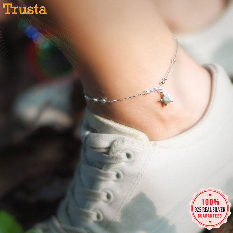 Trustdavis 100% 925 Sterling Silver Sweet Beads Star Anklets For Women Wife Best Friend Silver 925 Jewelry Free Shipping DS777