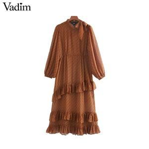 Image 1 - Vadim mujeres lazo collar puntos estampado midi vestido manga larga Mujer volantes vestidos elegante dos piezas conjunto vestidos QC778