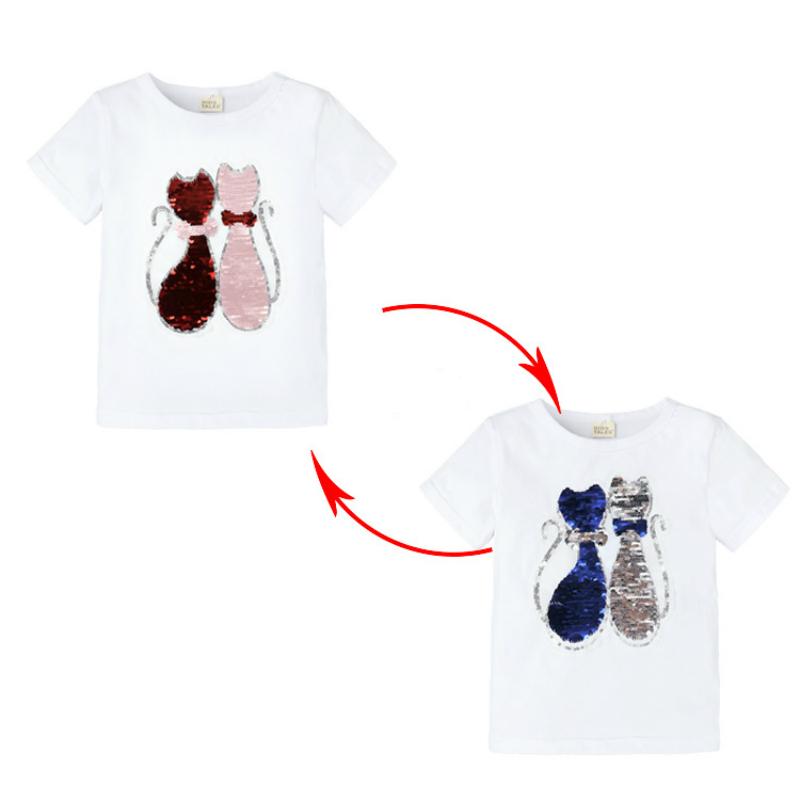 Summer T-shirts For Girls Sequins T Shirt Changing Color Cartoon Cat And Star Switchable Sequins T Shirt Children Teen Clothes image