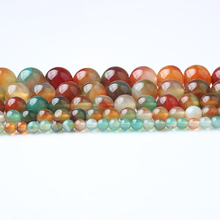 LingXiang Natural Stones Multicolor Peacock Agates Round Loose Beads 4/6/8/10/12MM Suitable for DIY female bracelet necklace