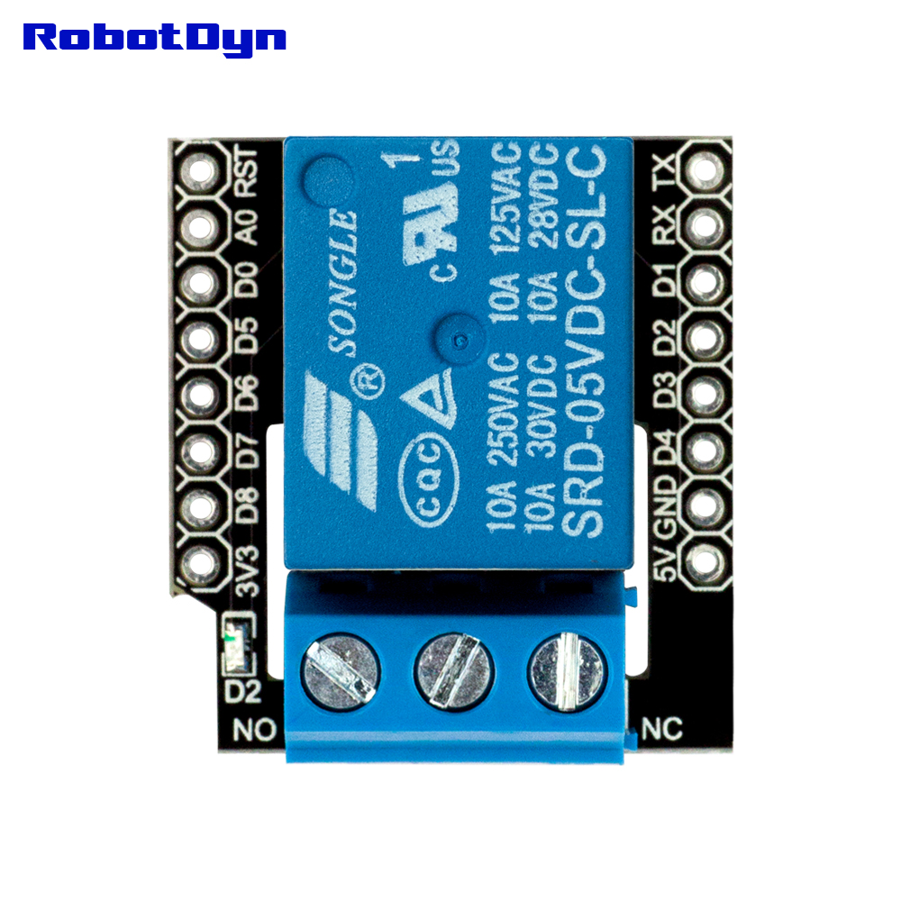 Contact Relay shield for WiFi WeMos D1 mini, with pin-headers set. For <font><b>AC</b></font> 110/220V, <font><b>DC</b></font> <font><b>30V</b></font> image
