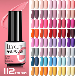 LILYCUTE 7ml Nail Gel Polish Semi Permanent Gel Varnish Base Top Coat UV LED Gel Varnish Soak Off Nail Art Gel Nail Polish