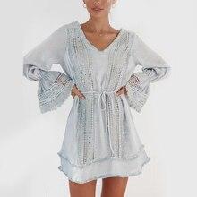 KHALEE YOSE Blue Embroidered Mini Dress Autumn Women Crochet Dresses Cotton Long Sleeve Belt Loops Hollow Out Boho Chic