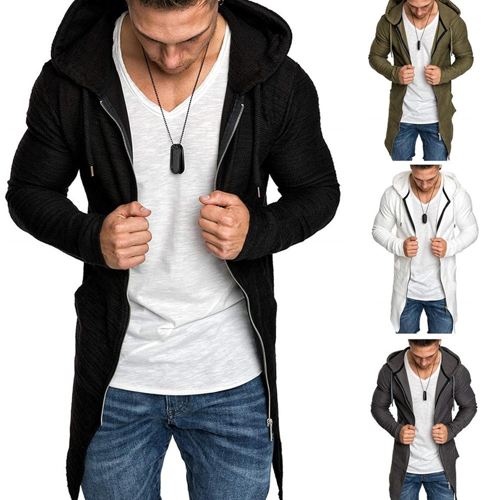 Men Zippered Hooded  Mid-Length Outwear Coat Jacket Cardigan