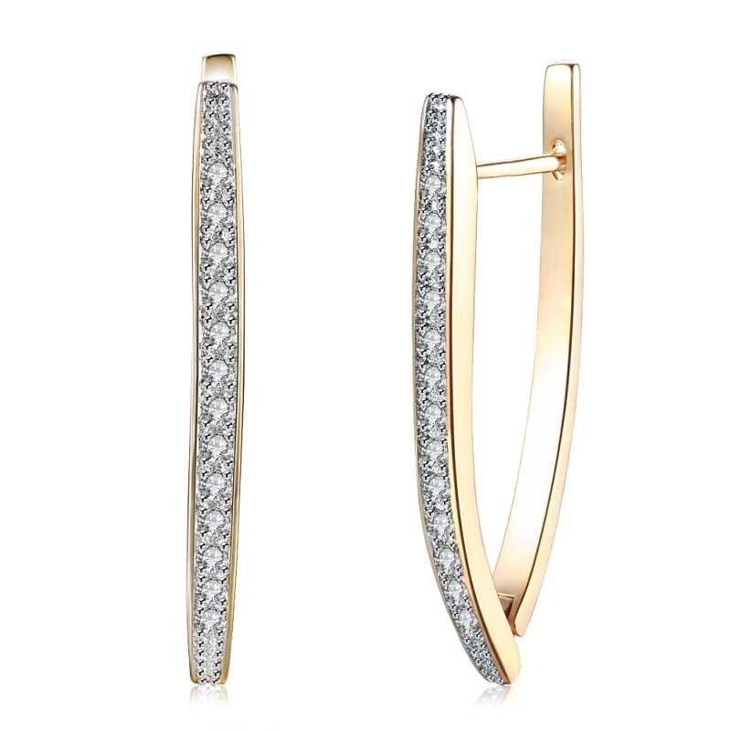 New Arrivals V Shape Shining Cubic Zirconia Buckle Hoop Earring For Women Champagne Gold Color Ladies Earrings Girl Jewelry 2019