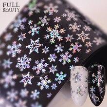 Full Beauty 100x4 см Рождественский узор для ногтей Наклейка 3D Снежинка звезда лазерный блеск Рождественский дизайн ногтей переводная фотобумага
