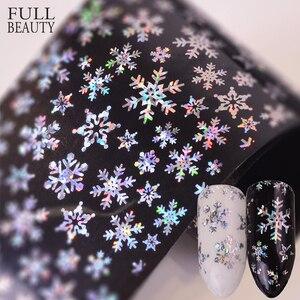 Full Beauty 100x4cm Xmas Pattern for Nail Sticker 3D Snowflake Star Laser Glitter Christmas Nail Art Transfer Foils CHXK94-97(China)