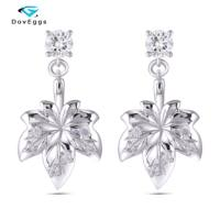 DovEggs Sterling Solid 925 Silver Main 1CTW 5mm Round Moissanite Maple Leaf Earrings for Women Silver Jewelry Anniversary Gifts
