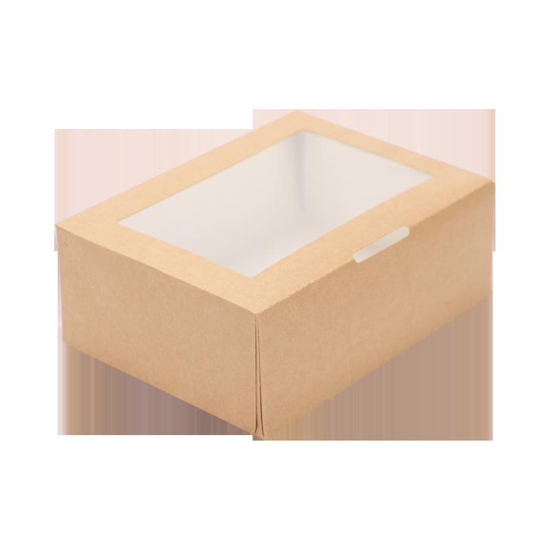 50pcs Kraft papier boîte à déjeuner jetable salade de fruits dessert boîte de nourriture de haute qualité frite poulet à emporter boîte d'emballage avec fenêtre - 5