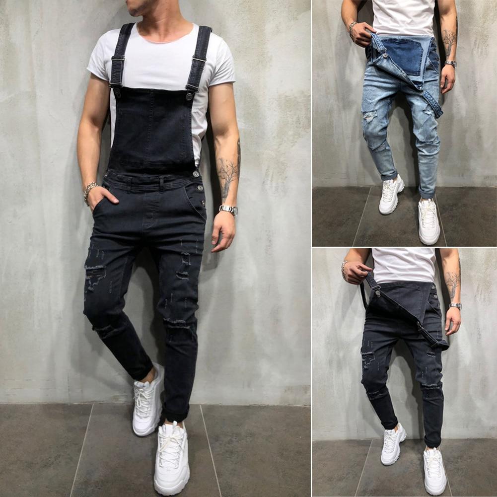 Комбинезон мужской рваный джинсовый, Модный комбинезон из потертого денима, штаны на подтяжках, уличная одежда, большие размеры, 2020