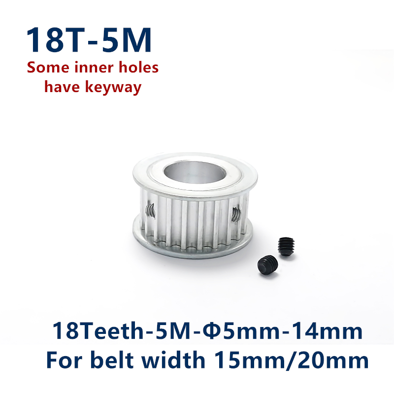 Arc tooth 18 Teeth HTD 5M Synchronous Timing Pulley Bore 5/6/6.35/8/10/12/14mm for Width 15/20mm HTD5M wheel 18Teeth 18T image