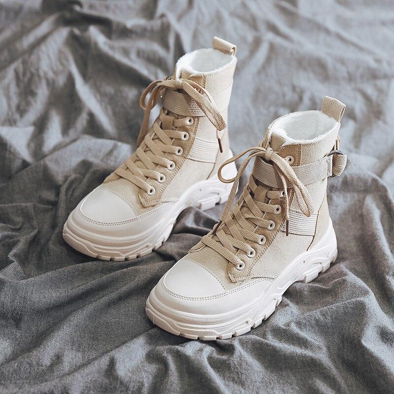 Новинка 2020 года; Зимние ботильоны на высокой платформе; Женская обувь на толстой подошве; Кожаные парусиновые кроссовки; Теплые женские ботинки на меху|Полусапожки| | АлиЭкспресс