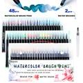 Художественный маркер 48 цветов акварельные кисти Ручки Маркеры для рисования книжки-раскраски манга каллиграфия школьные принадлежности ...