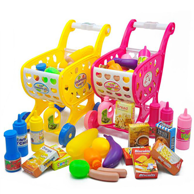 19PCS Children Kitchen Toys Shopping Cart Set Pretend Play House Cutting Fruit Vegetables Miniature Food Girls Educational Toy