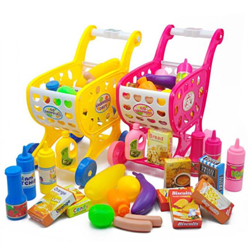 19PCS Children Kitchen Toys Shopping Cart Set Pretend Play House Cutting Fruit Vegetables Miniature Food Girls Educational Toy
