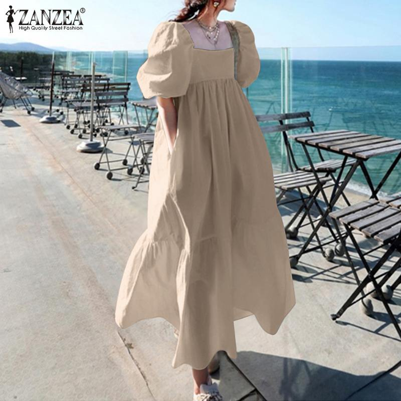 Stylish Square Neck Ruffle Dress Women's Casual Sundress 2021 ZANZEA Short Puff Sleeve Vestidos Female Solid Maxi Robe Oversized