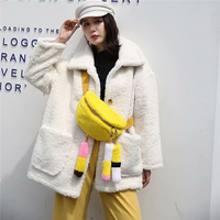 IANLAN Casual Womens Real Rex Rabbit Fur Belt Bag & Fanny Pack Sweet Lady Cute Contrast Color Crossbody Bags IL00556