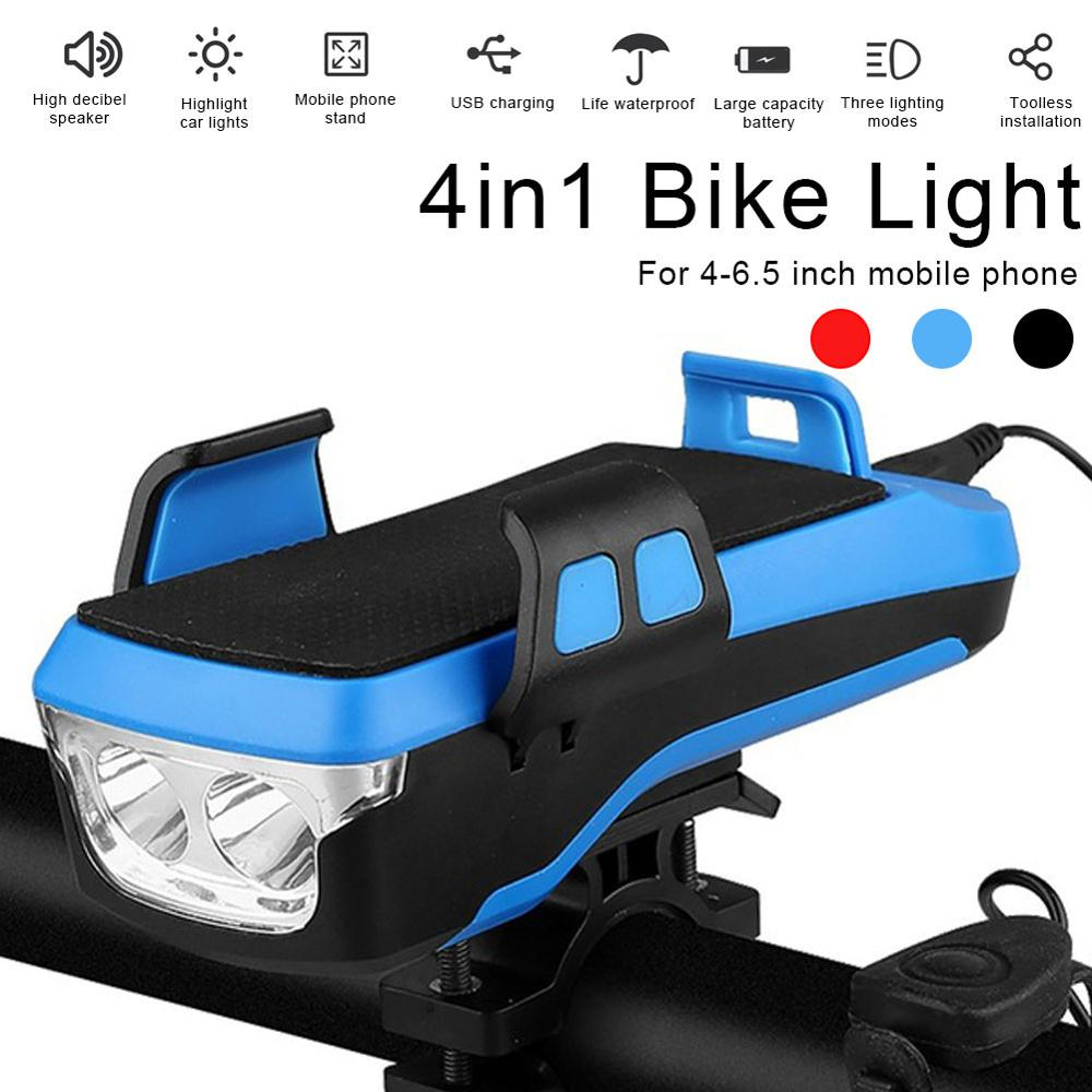 4 In 1 Multifunctional Bicycle Light Led Usb Rechargeable Bicycle Headlight Mobile Phone Holder Horn <font><b>4000mah</b></font> Mobile <font><b>Power</b></font> <font><b>Bank</b></font> image