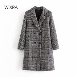 Wixra New Fashion Plaid Straight Woolen Overcoat Vintage Double Breasted Blends Female Long Outerwear Autumn Spring