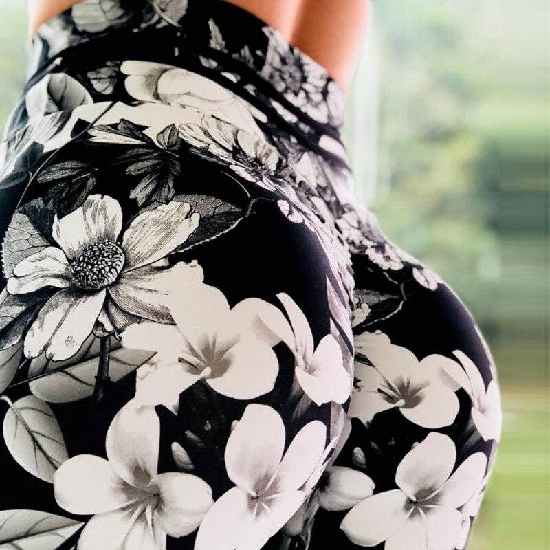 Women High Waist Leggings Ink Flower Digital Printing Outdoor Sports Pants Fitness Leggings Jeggings Femme Leggins O5A058