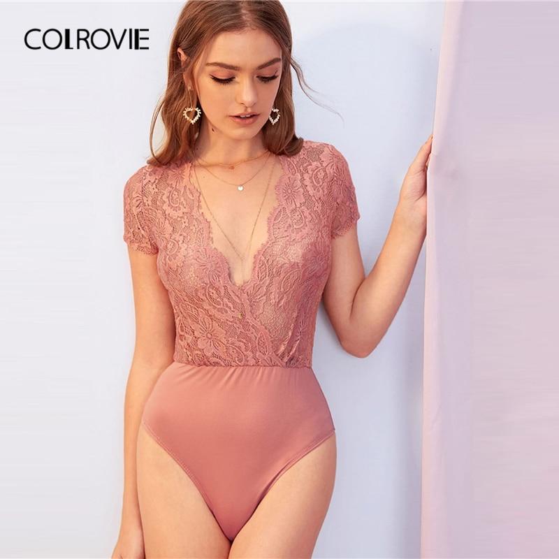 COLROVIE Pink Plunging Neck Sheer Guipure Lace Wrap Bodysuit Women Sheer Skinny Bodysuit 2019 Summer Deep V Neck Sexy Bodysuits