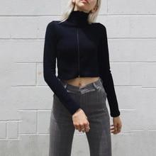 Black Cropped  Hoodies Women Zipper Slim Sexy Jacket Kawaii Ariana Grande Blackpink Pockets Tracksuit Drawstring Crop Tops printio ariana grande