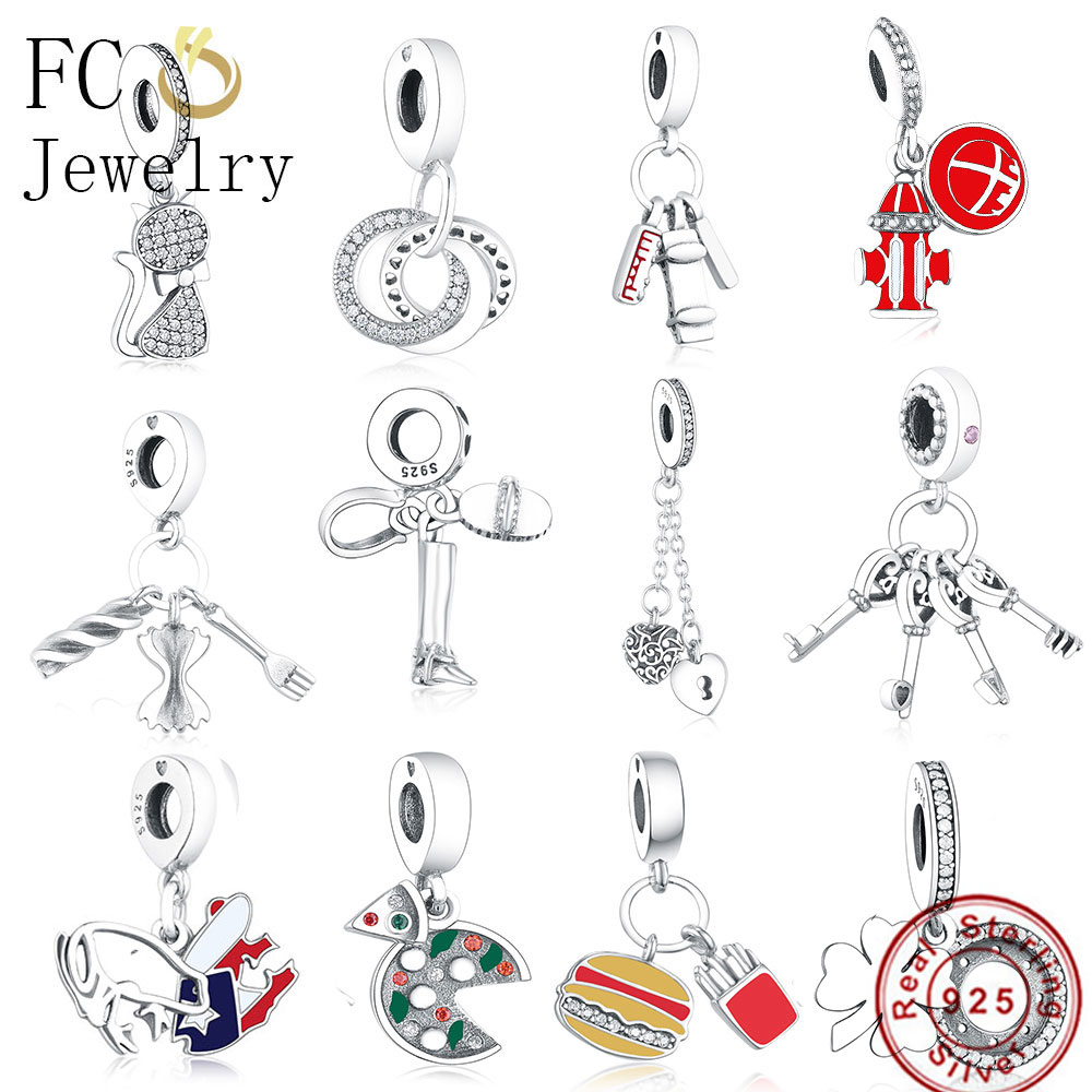 FC Jewelry Fit Original Pandora Charm Bracelet 925 Sterling Silver Italy  Pasta Food Fork Bow Tie Bead Pendant Trinket Berloque