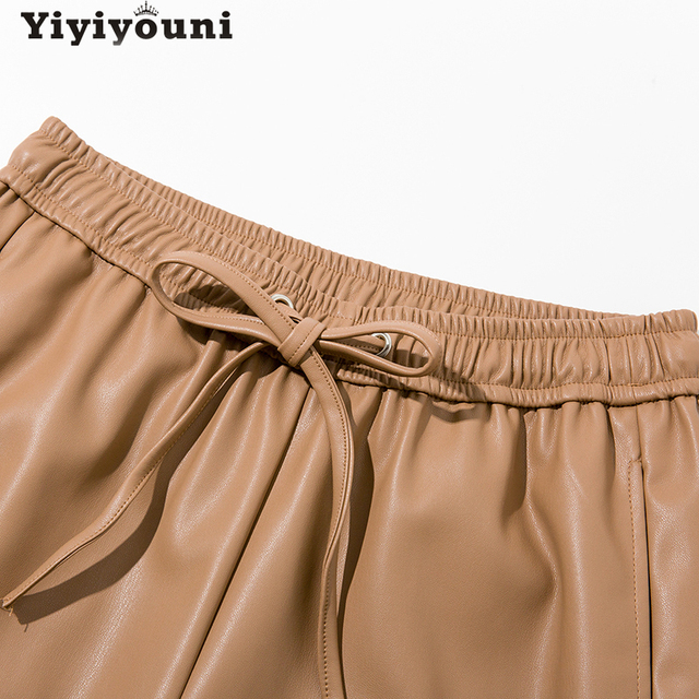 Yiyiyouni High Waist Spliced Leather Pants Women Loose Drawstring PU Leather Trousers Women Autumn Solid Straight Pants Female 5