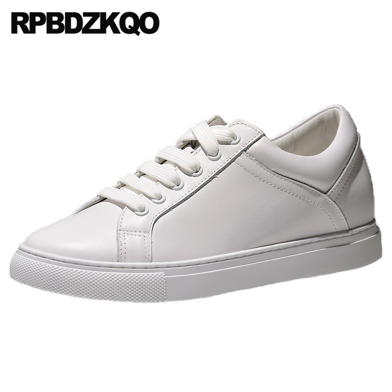 white lace up hidden chinese flats elevator sneakers latest trainers genuine leather designer shoes women luxury 2019 ladies