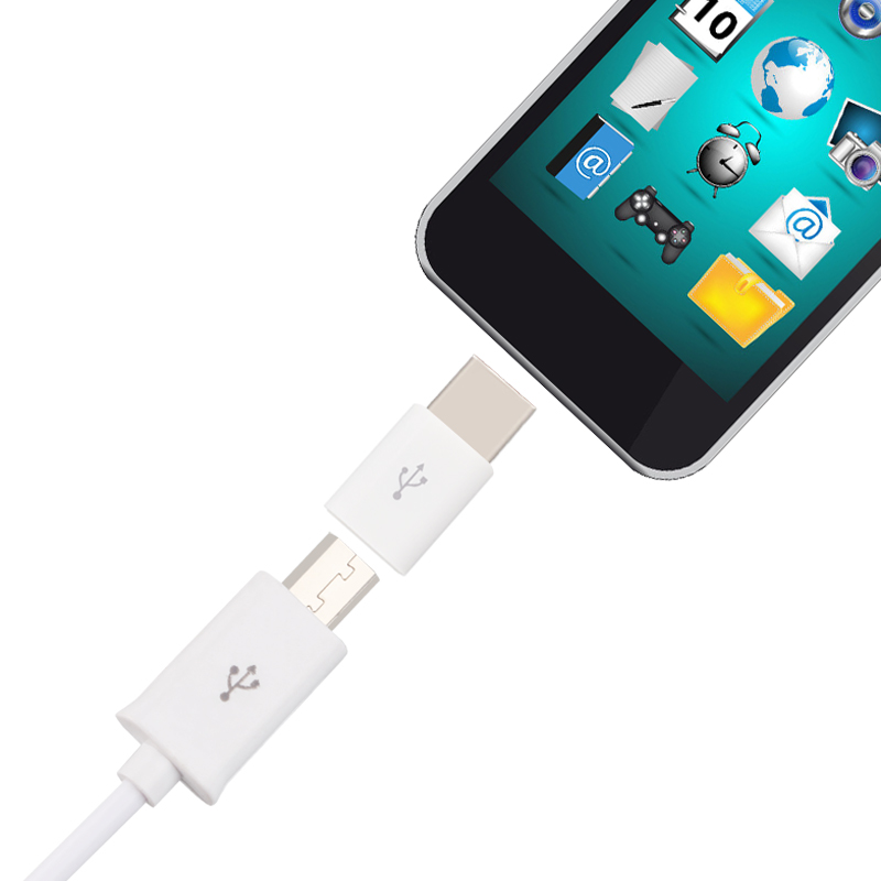 Micro USB To Type-C Type C Adapter Sync Charge TypeC Connector ABS Inserted From Both Side Size LHB99