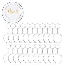 Porte-clés rond en acrylique Transparent, lot de 48/72/96 pièces, pour bricolage (Transparent)