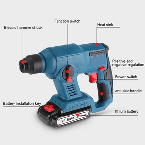Image 3 - 21V Electric Hammer Cordless Lithium Ion Hammer Drill Electric Perforator impact hammer with LED light
