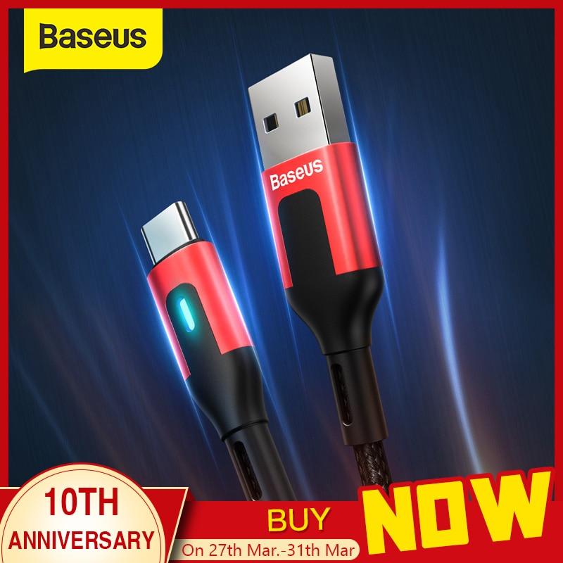 Baseus USB نوع C كابل لسامسونج S9 S10 تهمة سريعة 3.0 نوع C كابل LED شحن سريع لهواوي P30 برو USB C شاحن الحبل-في كابلات الهاتف المحمول من الهواتف المحمولة ووسائل الاتصالات على