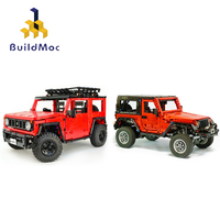 BuildMOC Technic Car Motor RC SUV Wrangler Truck Electric Remote Control Off road vehicle Building Blocks Toys For Children Gift