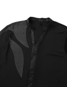 Image 4 - iiniim Men Adults V neck Side Shiny Rhinestones Ballroom Latin Tango Rumba Dance Costumes Shirt Leotard Bodysuit Shirt Tops