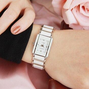 Luxury Brand CHENXI Elegant Woman's Watch Rhinestone White Silver Simple Stylish Design Ceramics Bracelet Quartz Casual Watch