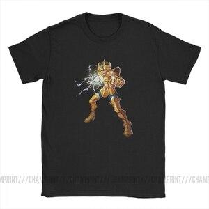 Image 3 - Neuheit Leo Constelacion T Shirt Männer Baumwolle T Shirt Ritter von die Sternzeichen Saint Seiya 90s Anime Kurzarm Tees plus Größe Tops