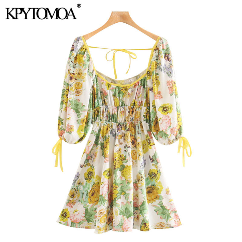 KPYTOMOA Women 2020 Chic Fashion Floral Print Lace-up Pleated Mini Dress Vintage Short Sleeve Back Zipper Female Dresses