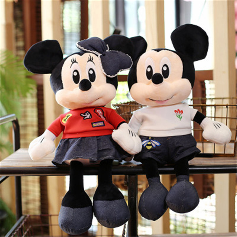 55-100cm Lovely Mickey & Minnie Plush Toys High Quality Stuffed Soft Cute Anime Pillow Mouse Dolls Classic Gifts For Kids Girls
