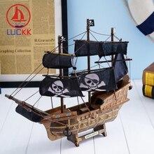 LUCKK 33CM Mediterrean Style Marine Retro Pirate Ship Model Home Decor Wood Crafts Miniature Nautical SailBoat Figurine Ornament