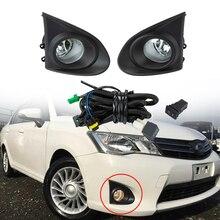 цена на A Set Car Front Bumper Fog Light Assembly Driving Fog Lamp Cover Harness Wiring Switch H11 Bulbs For TOYOTA Corolla AXIO 13-15