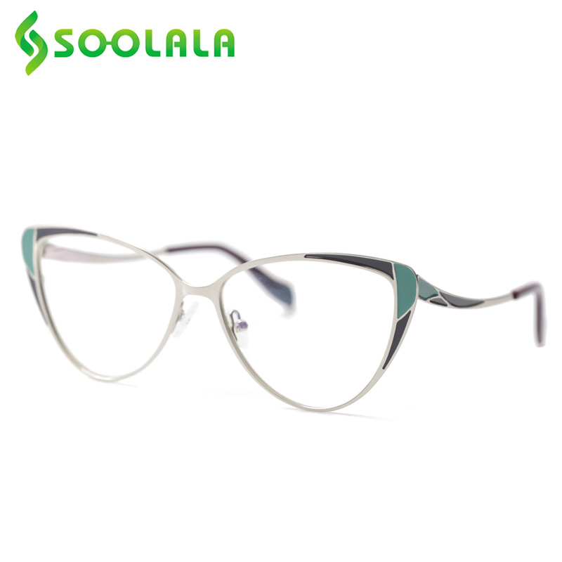 SOOLALA Cat Eye Alloy Reading Glasses Women Spring Hinge Unique Hit Color Pattern New Presbyopic Glasses 0.5 0.75 1.0 1.25 1.75
