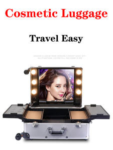 Mirror-Box Cosmetic-Case Luggage Makeup Artist Rolling-Studio Beauty Trolley Aluminum-Frame